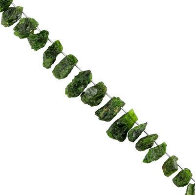 190cts Chrome Diopside Graduated Rough Nuggets Approx 11x8 to 16x12mm, 18cm Strand.