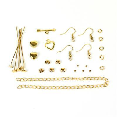 Gold Colour Base Metal Heart Findings Pack (28pcs)