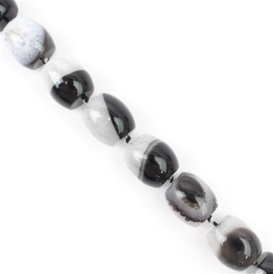 800cts Monochrome Agate Barrels Approx  17x19mm 38cm strand