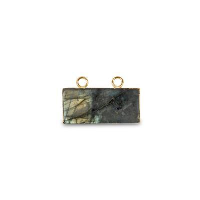 Gold Electroplated Labradorite Smooth Rectangle Pendant - 20cts