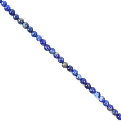 35cts Lapis Lazuli Plain Rounds Approx 4mm, 38cm Strand