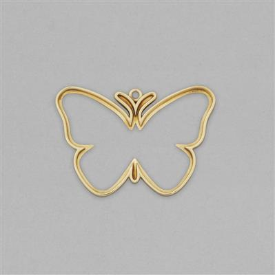 High Polished Brass Butterfly Outline Shaped Blank Pendant Approx 55x38mm.