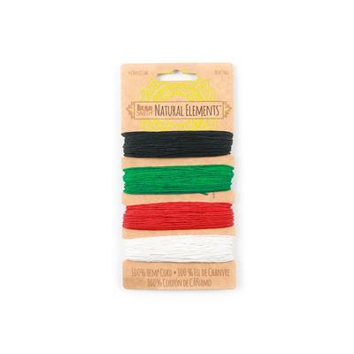 Hemp Cord -  Primary 4 Colour Card, 1mm