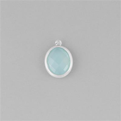 925 Sterling Silver Bezel Charm Approx 17x13mm Inc. 4.25cts Aqua Chalcedony Briolette Oval Approx 13x11mm.