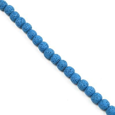160cts Royal Blue Lava Rock Beads Round Approx 10x11mm 38cm