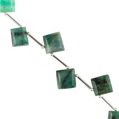 55cts Emerald Graduated Faceted Squares Approx 13 to 18mm, 10cm Strand.