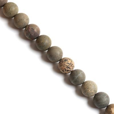 1000cts Chinese Picture Jasper Frosted Rounds Approx 20mm, 38cm strand