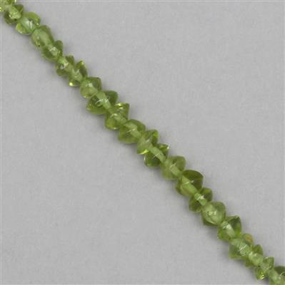 40cts Peridot Graduated Irregular Bicones Approx 2x1 to 4x2mm, 30cm Strand.
