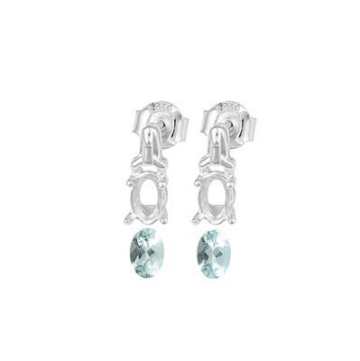 925 Sterling Silver Earrings Mount Fits 6x4mm Inc. 0.80cts Aquamarine Brilliant Oval 6x4mm. (1 Pair)