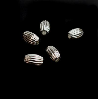 925 Sterling Silver Oval  Beads Approx 9x6mm 5 Pcs