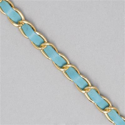 3m Turquoise Leatherette and Aluminum Alloy Chain 12.5x8mm