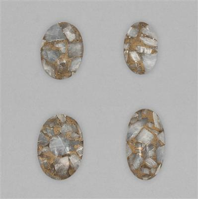 130cts Copper Matrix Blue Calcite Multi Shape Cabochons Assortment.