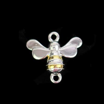 925 Sterling Silver 2 Tone Bee Connector, Approx 10x15mm
