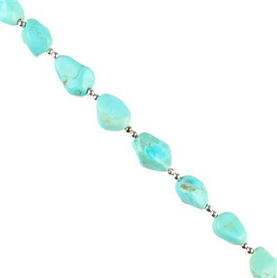 20cts Turquoise Graduated Plain Tumbles Approx 6x5 to 11x8mm, 8cm Strand.