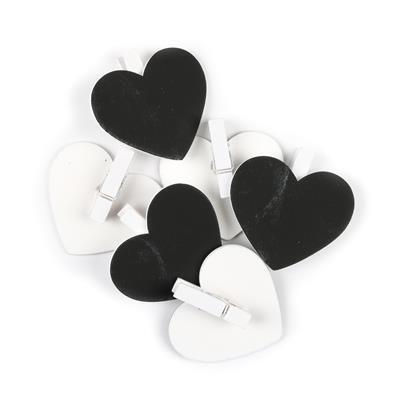 Heart Chalkboard Clip Approx 4x5.5cm 6pk