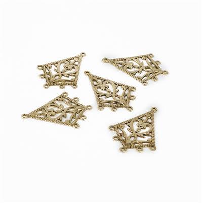 Polished Brass Triangular Filigree Chandelier - 35x25mm (5pcs/pk)