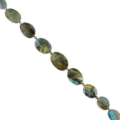 145cts Labradorite Graduated Twisted Faceted Ovals Approx 14x9 to 20x14mm, 18cm Strand.