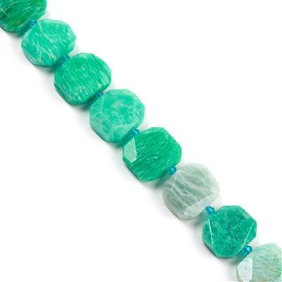 620cts Amazonite Faceted Slabs Approx from 18x23 to 22x25mm, 17pcs per strand