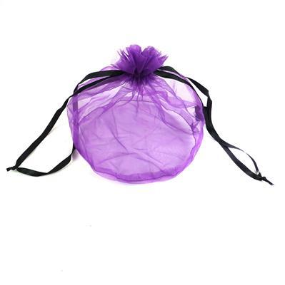 Purple Organza Gift Bag With Black Drawstring approx 9