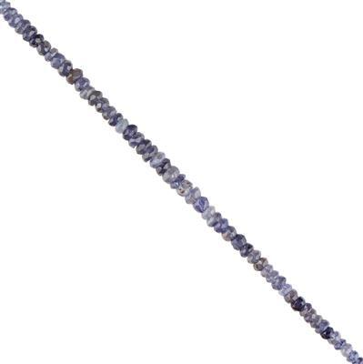 45cts Iolite Graduated Faceted Rondelles Approx 2X1 to 5x3mm, 30cm Strand.