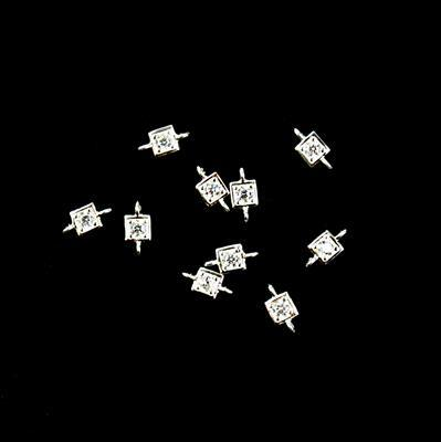 925 Sterling Silver Cubic Zirconia Square Shape Connector Approx 4mm, 10pcs