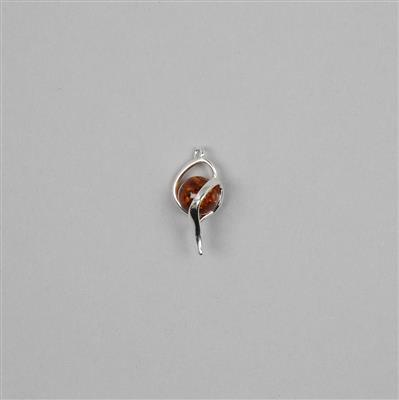 Baltic Cognac Amber Round Bead in Sterling Silver Element Connector Approx 20x12mm
