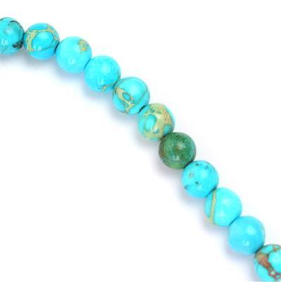 50cts Turquoise Blue Terra Jasper Plain Rounds Approx 6mm, Approx 38cm/strand