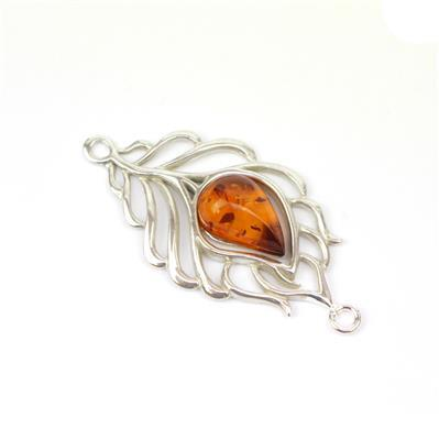 Baltic Cognac Amber Feather Connector Approx 22x41mm Sterling Silver