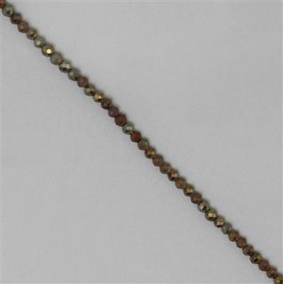 10cts Mystic Golden Colour Coated Black Spinel Micro Faceted Rondelles Approx 2x1mm, 30cm Strand.