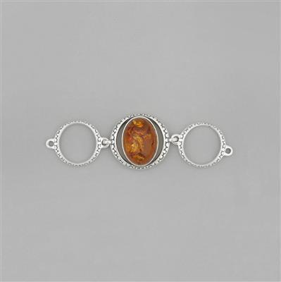 Baltic Cognac Amber Cabochon Oval Sterling Silver Bezel Connector Approx 56x17mm