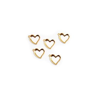 Gold Plated My Heart Collection 925 Sterling Silver Heart Charms Approx 12mm 5pk