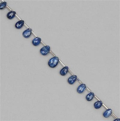 35cts Kyanite Graduated Faceted Pear Approx 6x3 to 10x6mm, 18cm Strand.