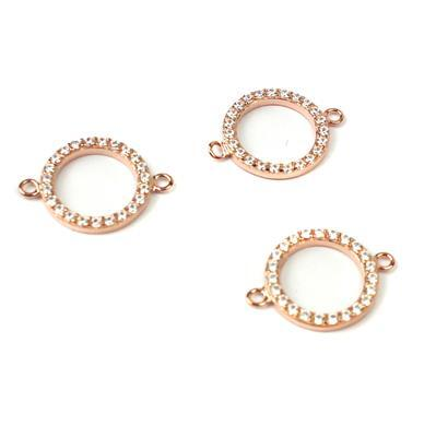 Rose Gold Plated 925 Sterling Silver Cubic Zirconia Circle Connector Approx 12mm 3pk