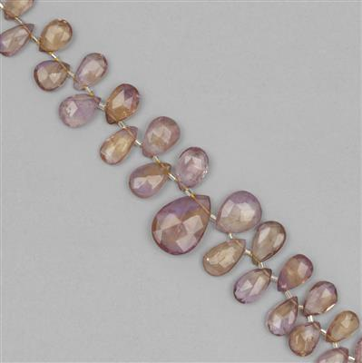 165cts Ametrine Graduated Faceted Pear Approx 11x7 to 25x15mm, 20cm Strands.