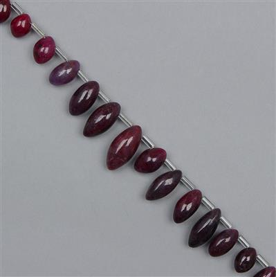 95cts Ruby Graduated Plain Rice Beads Approx 6x5 to 14x6mm, 18cm Strand.