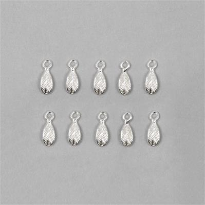 925 Sterling Silver Leaf Charm Approx 2.5x7.5mm (10pcs)