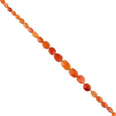 40cts Carnelian Graduated Faceted Ovals 4x3 to 11x7mm, 30cm Strand.
