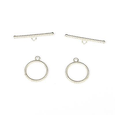 925 Sterling Silver Twist Effect Toggle Clasps Approx 27x5mm Bar 15x18mm Ring (2pc)