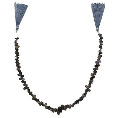75cts Iolite Irregular Plain Drops Approx 3x2 to 9x4mm, 30cm Strand.