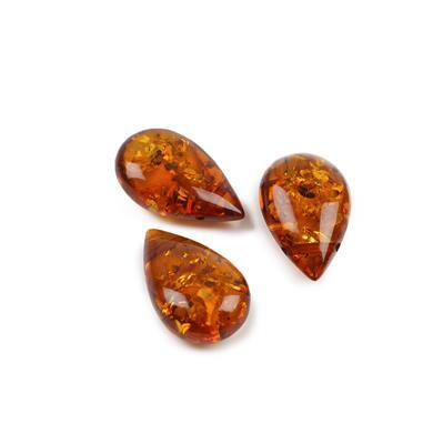 Baltic Cognac Amber top drilled drops approx 18x11mm, 3pcs