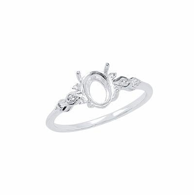 Size 9- 925 Sterling Silver Ring Oval Mount Fits 8x6mm Inc. 0.05cts White Topaz Brilliant Cut Rounds 1mm.
