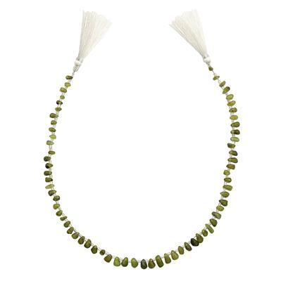 75cts Peridot Graduated Irregular Plain Drops Approx 5x3 to 9x5mm, 36cm Strand.