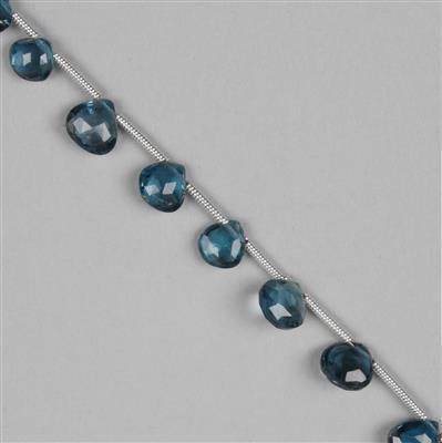 25cts London Blue Topaz Graduated Faceted Drops Approx 4 to 7mm, 17cm Strand.