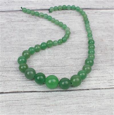 185cts Green Aventurine Graduated Rounds Approx 6-14mm, 38cm strand