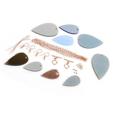 Winters Glow Stacking Pendant Collection: Drop Acrylic Pendants & Rose Gold Findings