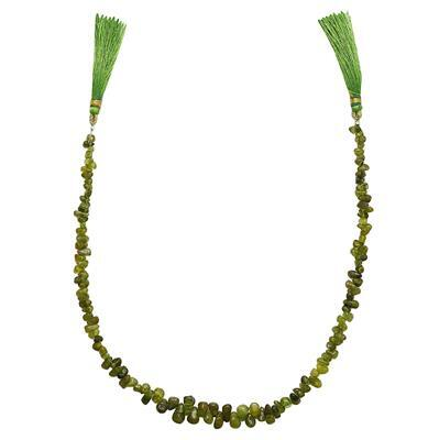 70cts Peridot Irregular Plain Drops Approx 3x2 to 8x3mm, 31cm Strand.