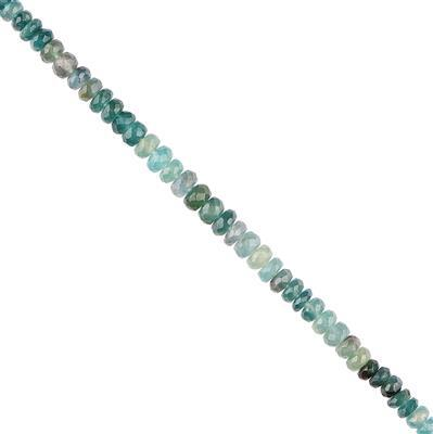 40cts Ombre Grandidierite Graduated Faceted Rondelles Approx 4X2 to 5x3mm, 18cm Strand.