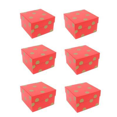 Red/Gold Polka Dot Print Watch/Bangle Boxes Approx 85x85x55mm (6pk)