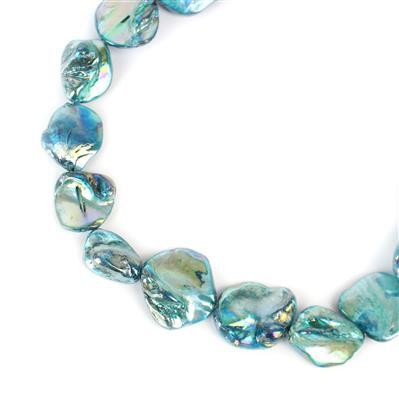 Blue Mother of Pearl Beads Approx 15x15mm to 22x20mm