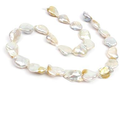 Mixed Colour Freshwater Cultured Metallic Keshi Pearls Approx 15-21mm , 38cm Strand